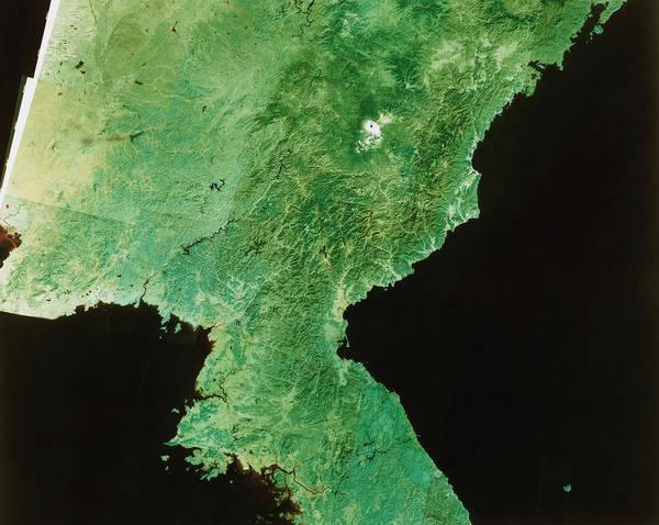 Wall Art - Photograph - Landsat Mosaic Of North Korea by Restec, Japan/science Photo Library