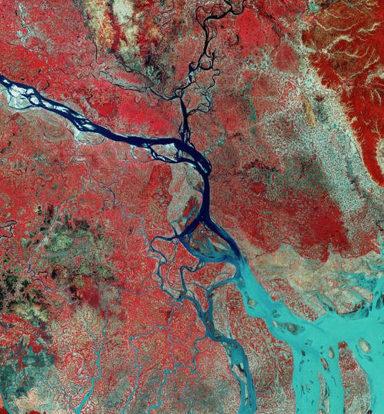 Ganges River Photograph - Landsat Photo Of The Ganges Delta by Mda Information Systems/science Photo Library