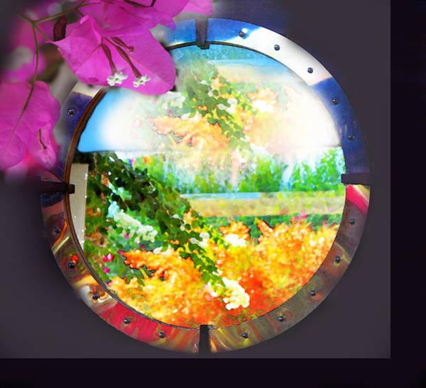 Digital Art - Landscape And Bougainvilleas by Augusta Stylianou
