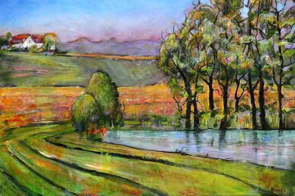 Wall Art - Painting - Landscape Art Scenic Fields by Blenda Studio