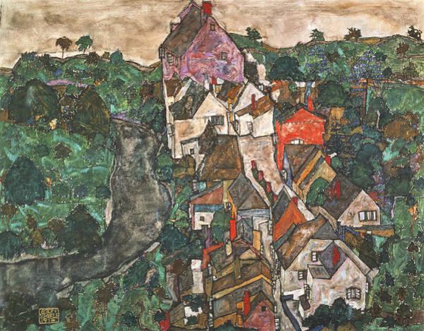 Photograph - Landscape At Krumau, 1910-16 by Egon Schiele