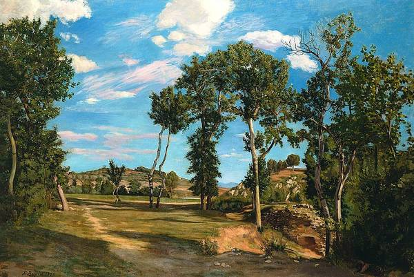 Southern France Painting - Landscape By The Lez River by Jean Frederic Bazille