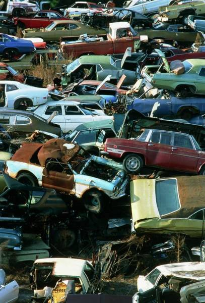 Scrap Wall Art - Photograph - Landscape Covered With Scrap Motor Cars by Alex Bartel/science Photo Library