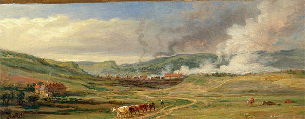Oil Industry Painting - Landscape Near Swansea, South Wales Signed In Verso by Litz Collection