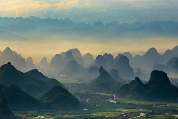 China Photograph - Landscape Of Karst Hills With Farmland by Keren Su