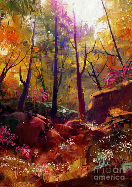 Bright Digital Art - Landscape Painting Of Beautiful Autumn by Tithi Luadthong