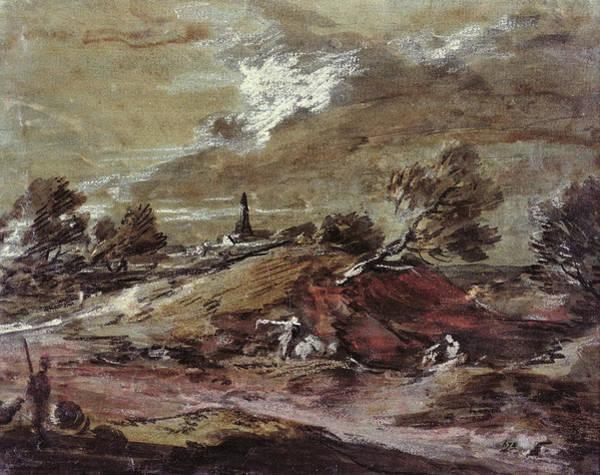Mountainous Photograph - Landscape Storm Effect, 18th Century Watercolour by Thomas Gainsborough