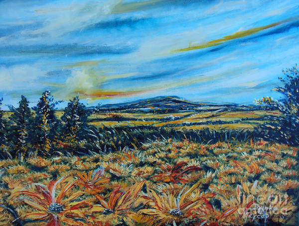Painting - Landscape Sunflowers Field  by Drinka Mercep
