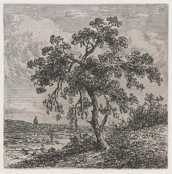 Herd Drawing - Landscape With A Big Tree, Johannes Pieter Van Wisselingh by Johannes Pieter Van Wisselingh