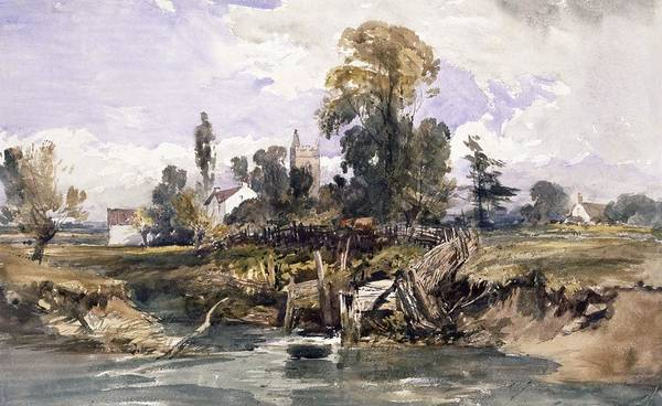 Riverbank Drawing - Landscape With A Church And A House by William James Muller