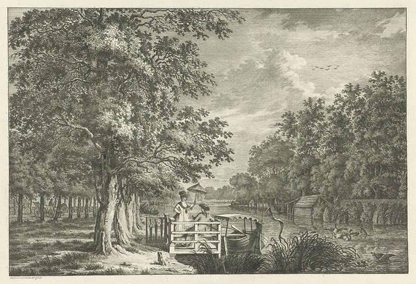 River Bank Drawing - Landscape With A Couple On The Bank Of The River Gein by Jan Evert Grave