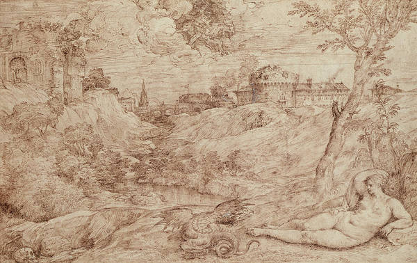 Curve Drawing - Landscape With A Dragon And A Nude Woman Sleeping by Titian