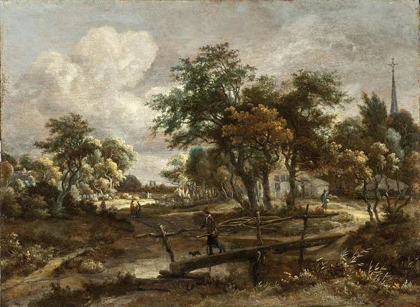 Meindert Hobbema Painting - Landscape With A Footbridge by Celestial Images