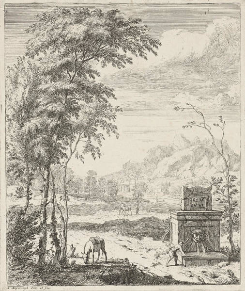Pump Drawing - Landscape With A Fountain And A Donkey, Albert Meyeringh by Albert Meyeringh
