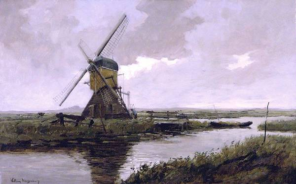 Barley Painting - Landscape With A Mill Enhanced II Upsized by Johan Hendrik Weissenbruch - L Brown