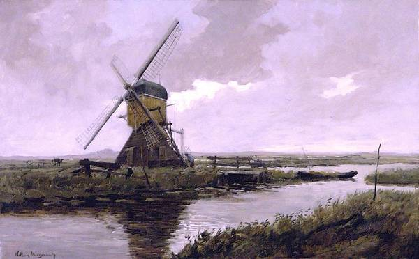 Barley Painting - Landscape With A Mill Enhanced IIi Upsized by Johan Hendrik Weissenbruch - L Brown