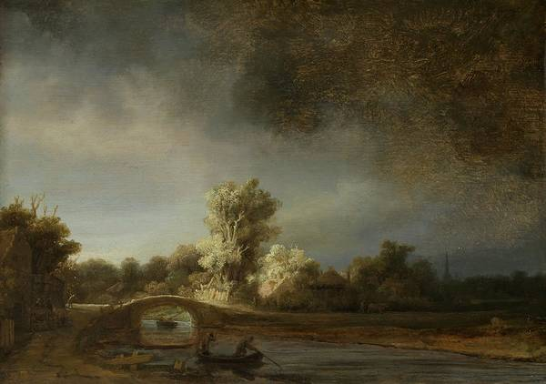 Wall Art - Photograph - Landscape With A Stone Bridge, C.1638 Oil On Panel by Rembrandt Harmensz. van Rijn
