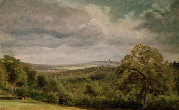 Threatened Photograph - Landscape With A Windmill Oil On Paper On Millboard by Lionel Constable