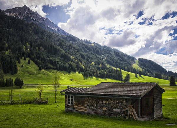 Photograph - Landscape With Barn In The Alps With Beautiful Light by Matthias Hauser