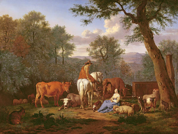 The Shepherdess Wall Art - Painting - Landscape With Cattle And Figures by Adriaen van de Velde