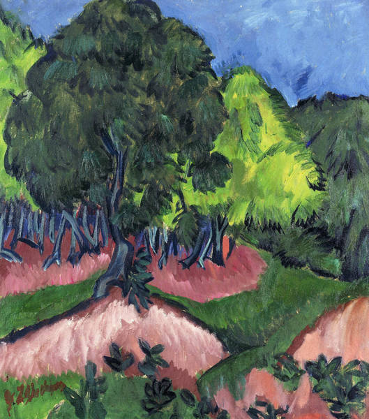 1910s Wall Art - Painting - Landscape With Chestnut Tree by Ernst Ludwig Kirchner