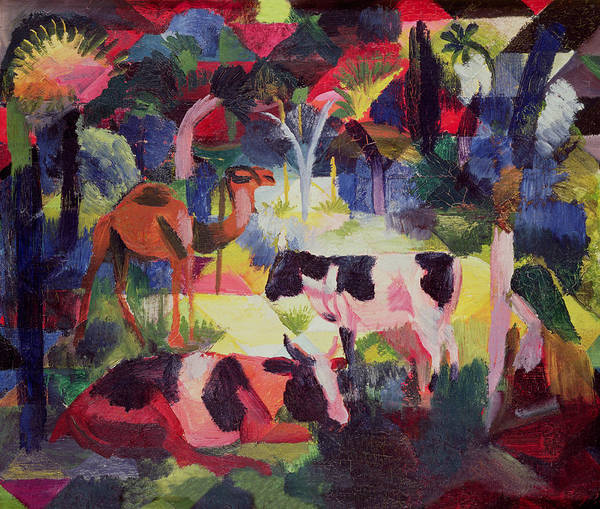 Dgt Wall Art - Photograph - Landscape With Cows And A Camel Oil On Canvas by August Macke