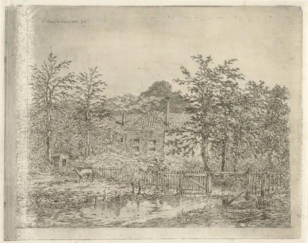 Hoof Drawing - Landscape With Deer, Gerardus Emaus De Micault by Gerardus Emaus De Micault