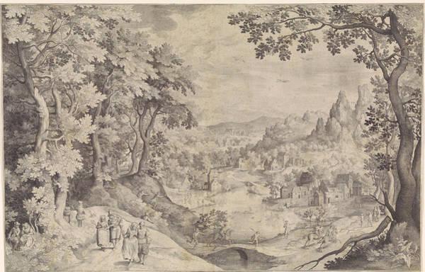 Wall Art - Drawing - Landscape With Deer Hunting, Nicolaes De Bruyn by Nicolaes De Bruyn