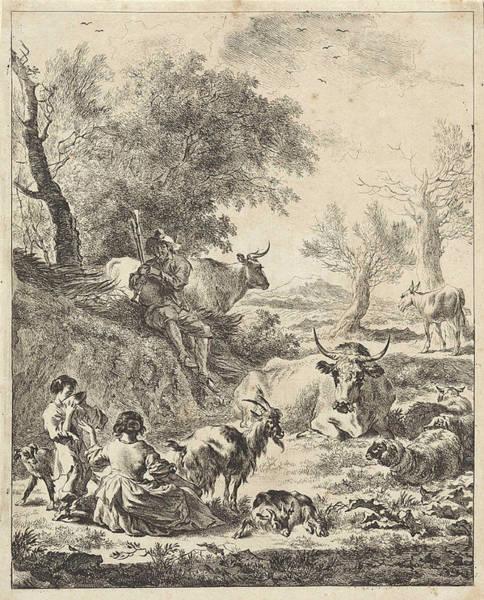 Herd Drawing - Landscape With Drinking Boy And Piper, Jan De Visscher by Jan De Visscher And Nicolaes Pietersz. Berchem