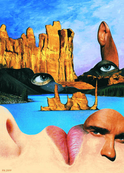 Mixed Media - Face Book Lake - Fantasy Collage by Peter Potter