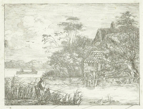 Wall Art - Drawing - Landscape With Farm Water And Two Fishermen by Albertus Brondgeest