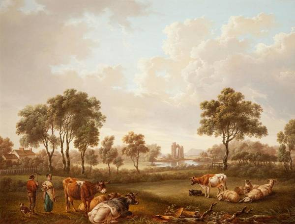 Charles River Wall Art - Painting - Landscape With Figures, 1812 by Charles Towne