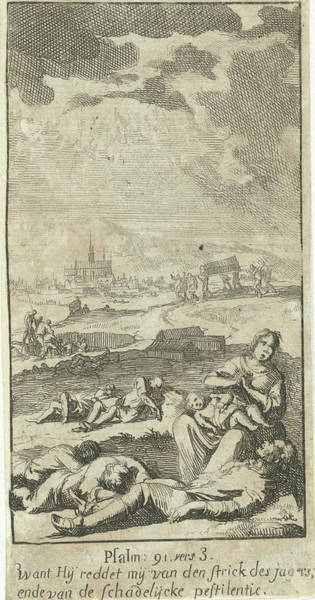 Suffering Drawing - Landscape With Figures Suffering From The Plague by Jan Luyken And Paulus Strobach