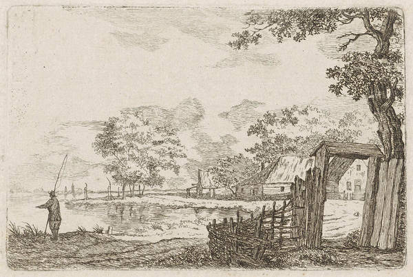 River Bank Drawing - Landscape With Fisherman, Hendrik Marcus Schouten by Hendrik Marcus Schouten And Jacob Cats