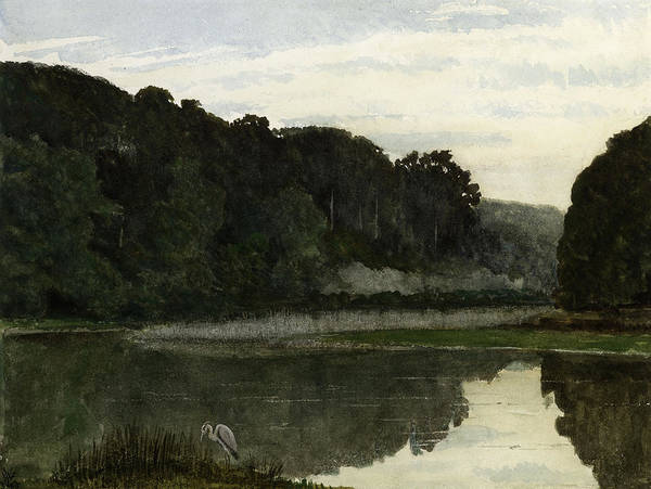 Tranquility Painting - Landscape With Heron by William Frederick Yeames