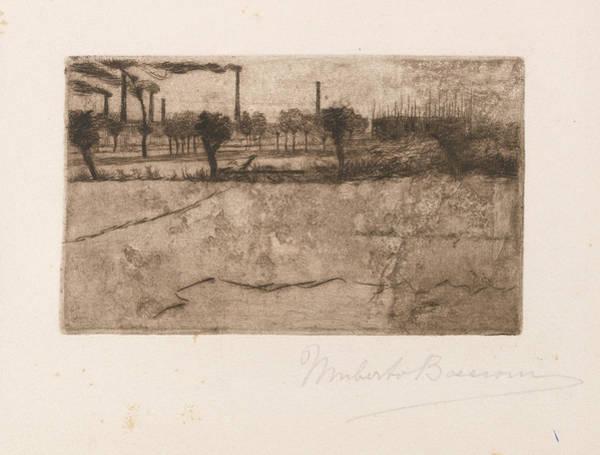 Boccioni Wall Art - Drawing - Landscape With Industrial Plants by Umberto Boccioni