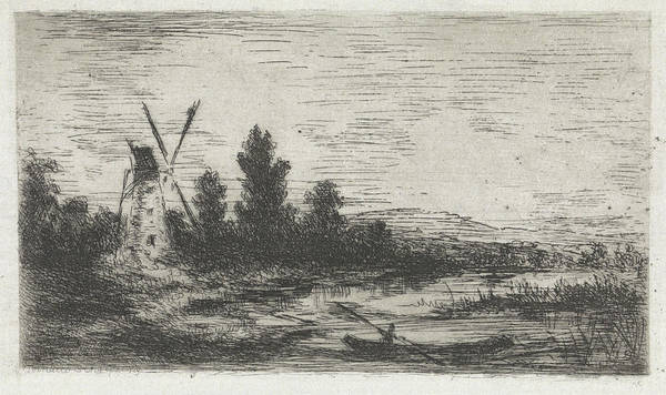 Wall Art - Drawing - Landscape With Mill And Rowing Boat by Arnoud Schaepkens