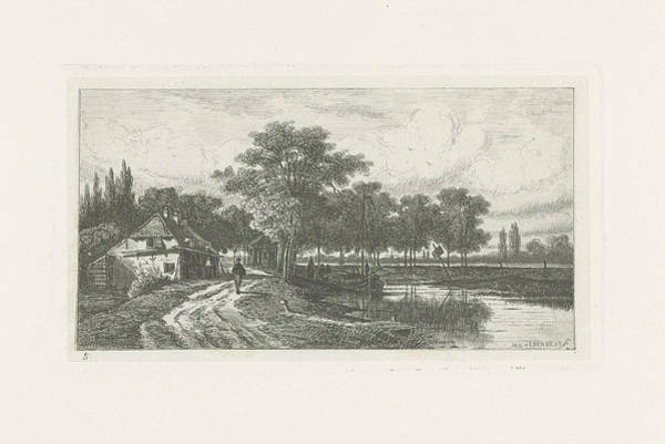 Wall Art - Drawing - Landscape With Moored Boat, Jan Van Lokhorst by Jan Van Lokhorst