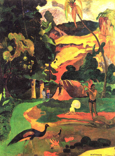 Paysage Wall Art - Digital Art - Landscape With Peacocks by Eugene Henri Paul Gauguin
