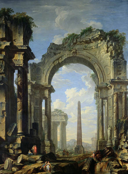 Archway Painting - Landscape With Ruins by Giovanni Niccolo Servandoni
