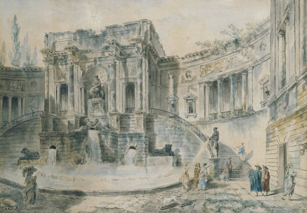 Baroque Photograph - Landscape With Ruins Watercolour by Hubert Robert