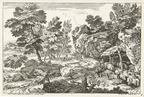 Herd Drawing - Landscape With Sheepfold, Print Maker Adriaen Van Der Kabel by Adriaen Van Der Kabel And N. Robert