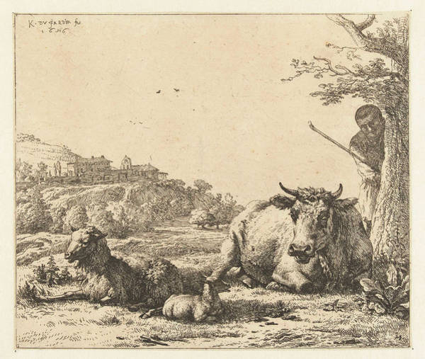 Herd Drawing - Landscape With Shepherd Tree And Lying Cow With Sheep by Karel Dujardin