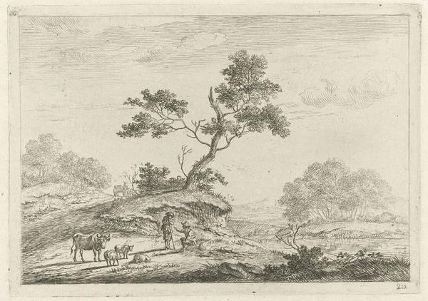 Herd Drawing - Landscape With Shepherds In Conversation by Johannes Janson