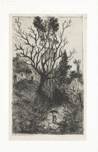 Wall Art - Drawing - Landscape With Thatched House And Walking Figure by Litz Collection
