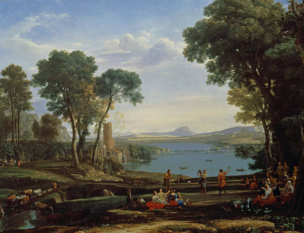 Genesis Photograph - Landscape With The Marriage Of Isaac And Rebekah The Mill 1648 Oil On Canvas by Claude Lorrain
