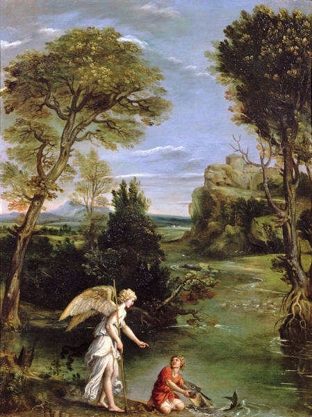 Biblical Photograph - Landscape With Tobias Laying Hold Of The Fish, C.1615 Oil On Copper by Domenichino