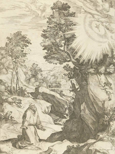 Suffering Drawing - Landscape With Vision Of St by Cornelis Cort And Girolamo Muziano And Carlo Losi