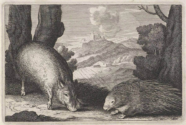 Hoof Drawing - Landscape With Wild Boar And Porcupine, Anonymous by Anonymous