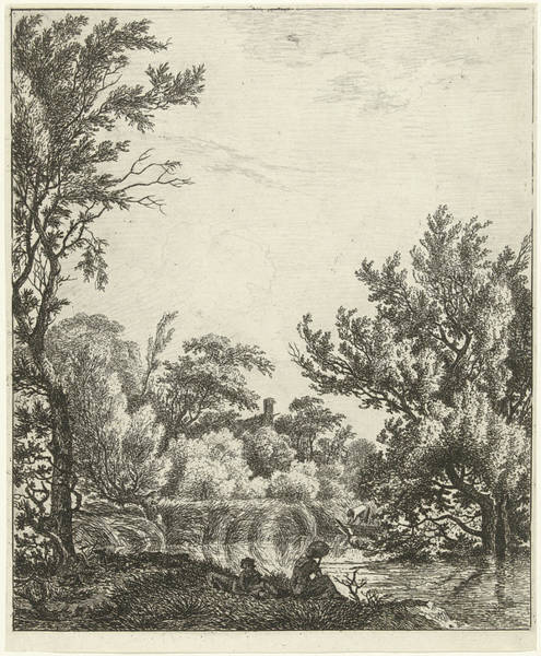 River Bank Drawing - Landscape With Woman At Waterfront, Print Maker Hermanus by Hermanus Fock